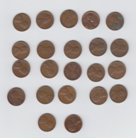 USA Wheat Penny -  22 X  One Cent Coin - 1937 - 1939 - 1941 -1944 -  1946 - 1951 - 1953 - 1956 - 1957 - 1958 - 1960 - 1909-1958: Lincoln, Wheat Ears Reverse