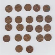 USA Wheat Penny -  22 X  One Cent Coin - 1937 - 1939 - 1941 -1944 -  1946 - 1951 - 1953 - 1956 - 1957 - 1958 - 1960 - Émissions Fédérales