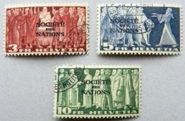 """Schweiz Suisse 1939: Dienst III """"SOCIETÉ DES NATIONS"""" Service (SdN) """"Symbol"""" (3+5+10 FR) Zu+Mi 65-67 O (Zu CHF 68.00) - Service"""
