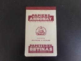"""Bloc Notes Publicitaire Vierge  """" Papiers Annonay  """" - Vieux Papiers"""