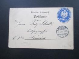 DR 1899 Siegelmarke Kaiserlich Deutsches Postamt Neuwied Postkarte / Ortskarte An Die Lithografie Anstalt Neuwied - Briefe U. Dokumente