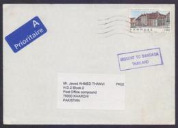 MISSENT MAIL COVER - Postal History DENMARK To KARACHI, But Going To BANGKOK THAILAND, Used 2004 - Denemarken