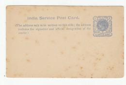 India QV Service Post Card Unused B190920 - India (...-1947)