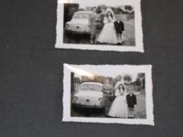 FIAT 600 - 2 Photos Lors D'une Communion - Coches