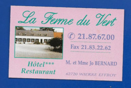 Carte De Restaurant  LA FERME Du VERT Wierre Effroy 62 - Kaarten