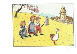 Cpm Illustration - Alsace Merveilleuse - Hansi - Le Défilé Des Enfants Aux Lampions Pour Le 14 Juillet - Poupée Oie - Hansi