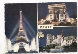 PARIS ILLUMINE, Tour Eiffel, Notre-Dame, Arc De Triomphe, 1971 Used Postcard [23499] - Paris By Night