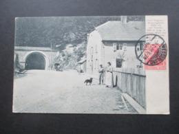 AK 1908 Deutsches Reich Germania / Frankreich Hoch Vogesen Bussangsattel Mit Tunnel In Dessen Mitte Die Grenze Liegt! - Bussang