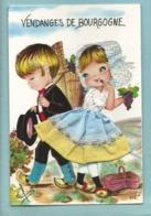 Carte Brodée  Costume Folklore Vendanges De Bourgogne - Couple Hotte De Raisin Vendangeurs - Non Voyagée Ed Vacances - Brodées