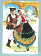 Carte Brodée Italie Sardegna Sardaigne - Folklore Costume Couple - Ecrite En 2005 - Brodées