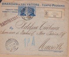 ENVELOPPE TIMBRE  1919   RECOMMANDE  TEMPIO PAUSANIA   ARRIVEE A MARSEILLE  EN FRANCE - 1900-44 Victor Emmanuel III