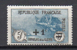 - FRANCE N° 169a Neuf * MH - +1 F. S. 5+5 F. Orphelins 1922 - IMPRESSION FINE - Cote 220 EUR - - Neufs