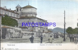 119591 ITALY TORINO TURIN PIAMONTE HOSPITAL OF SAN SALVARIO AND VIA NIZZA TRAMWAY POSTAL POSTCARD - Italia