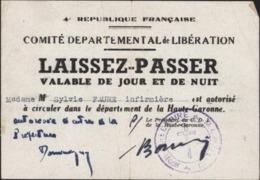 Haute Garonne Laissez Passer Jour Nuit Infirmière Comité Départemental Libération Cachet Directoire MLN Croix Lorraine - Marcophilie (Lettres)