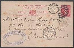 MALTE - MALTA - QV - VALLETTA / 1890 ENTIER POSTAL POUR LA FRANCE - ARGENTEUIL (ref LE364) - Malte