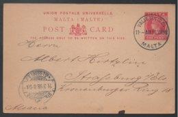 MALTE - MALTA - QV - VALLETTA / 1898 ENTIER POSTAL POUR STRASBOURG (ref LE365) - Malte