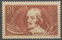 Au Profit Des Chômeurs Intellectuels. Jacques Callot (1592-1635). 20c. + 10c. Brun Carminé Neuf Luxe ** Y330 - Nuovi