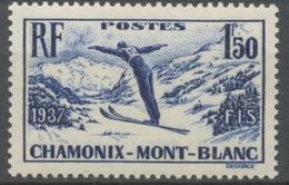 Championnats Internationaux De Ski, à Chamonix. 1f.50 Bleu-violet Neuf Luxe ** Y334 - Nuovi