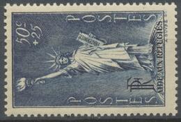 Au Profit Des Réfugiés Politiques. Type De 1936. 50c. + 25c. Bleu-gris (309) Neuf Luxe ** Y352 - Nuovi