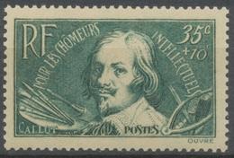 Au Profit Des Chômeurs Intellectuels. Types De 1936-37. 35c. + 10c. Vert-bleu (330) Neuf Luxe ** Y381 - Nuovi