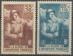 Série Pour L'érection D'un Monument à La Gloire De L'infanterie. 2 Valeurs Neuf Luxe ** Y387S - France