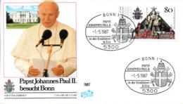 "(Bu-B1) BRD Sonder-Umschlag ""Papst Johannes Paul II Besucht Bonn"" EF BRD Mi 1320 SSt 1.5.1987 BONN 1 - BRD"