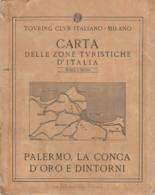 9516-CARTA D'ITALIA DEL TOURING CLUB ITALIANO-PALERMO, LA CONCA D'ORO E DINTORNI - Carte Geographique