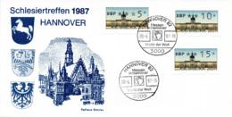 """(Bu-B1) BRD Sonder-Karte """"Schlesiertreffen 1987 HANNOVER"""" MiF WB Mi ATM SSt 20.5.1987 HANNOVER 82 - BRD"""