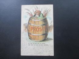 AK 1902 Künstlerkarte Mann Badet Im Bierfass / Badet Im Bier! Verlag Von Ottmar Zieher, München. Prosit! - Hotels & Gaststätten