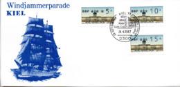"(Bu-B1) BRD Sonder-Karte ""Windjammerparade KIEL"" MiF WB Mi ATM SSt 28.6.1987 KIEL 71 - BRD"