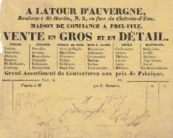 """Paris : Facture """"A La Tour D'Auvergne"""", 3 Bt St. Martin... Vente De Toiles, Calicos, Poult De Soie, Chals,manteaux ... - France"""