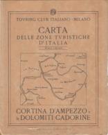 9519-CARTA D'ITALIA DEL TOURING CLUB ITALIANO-CORTINA D'AMPEZZO E LE DOLOMITI CADORINE - Carte Geographique