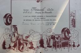 1952 - CERTIFICAT D'ASSIDUITE AUX COURS Des USINES MICHELIN à CLERMONT FERRAND (PUY DE DOME) + LISTE DES PARTICIPANTS - Diplômes & Bulletins Scolaires