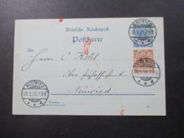 DR 30.3.1900 Reichspost Ganzsache Mit Zusatzfrankatur Krone / Adler Ortspostkarte C. Kohl Ober Postassistent In Neuwied - Brieven En Documenten