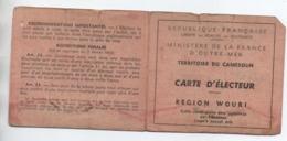 CARTE D'ELECTEUR TERRITOIRE DU CAMEROUN / REGION WOURI D'une Personne Née à BRIGNOLES (VAR) - Camerún (1915-1959)