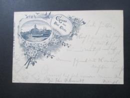 DR 1897 AK Gruss Aus Bad Cleve Verlag Von Fr. A. Kilfitt Neuer Bazar Bahnpost Zug 228 Cöln (Rhein) - Cleve - Greetings From...