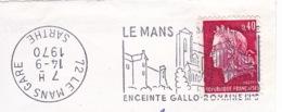 1970 Flamme Le Mans Couronne à L'envers - Marcophilie (Lettres)