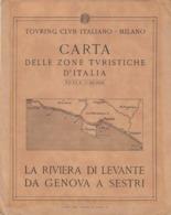 9520-CARTA D'ITALIA DEL TOURING CLUB ITALIANO-LA RIVIERA DI LEVANTE DA GENOVA A SESTRI - Carte Geographique