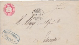 1873 Briefumschlag 10 Cts. N°.13 Von Basel Nach Schwyz ( VEUNE RIGGENBACH BASEL ) - Stamped Stationery