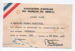 """1963 - CARTE """"ASSOCIATION D'ENTRAIDE DES FRANCAIS DU SENEGAL& à DAKAR (SENEGAL) - Senegal (1887-1944)"""