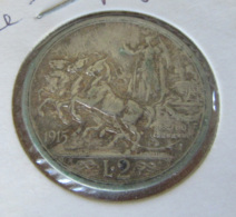Italie - Monnaie 2 Lire 1915 R VITTORIO EMMANUELE III - Argent 835 - TTB / SUP - 1900-1946 : Victor Emmanuel III & Umberto II
