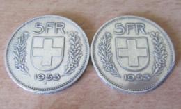Suisse - 2 Monnaies 5 Francs 1953 En Argent - TTB / SUP - Suisse