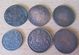 Inde Britannique / East India Company - 6 Monnaies : XX Cash 1803 / 1808, Quarter Hanna 1835, Half Hanna 1835/1862/1877 - Kolonies