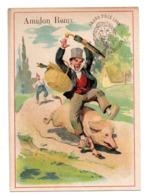 Chromo Amidon Remy Tête Lion Gaillon Eure Fuite Cochon Libération Corde Attaque Paysan Chute Panier Canard Oiseau Animal - Kaufmanns- Und Zigarettenbilder