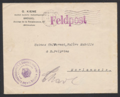 """Guerre 14-18 - Lettre En Feldpost Obl Mécanique """"Brussel"""" (1916) Vers Morlanwelz + Grand Cachet Violet à Voir. - WW I"""