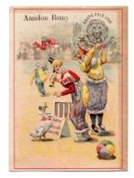 Chromo Amidon Remy Tête Lion Gaillon Eure Clown Cirque Acrobate Musicien Instrument Dresseur Lecture Oie Oiseau Animal - Chromos