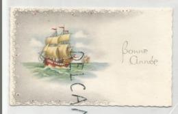 Mignonnette De Vœux. Deux Caravelles En Mer. - Nieuwjaar