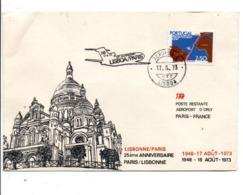 PORTUGAL 25 ANS LIAISON AERIENNE PARIS-LISBONNE PAR TAP 1973 - Marcophilie