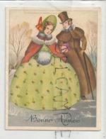Mignonnette De Vœux. Couple Belle-époque. Manchon, Gabardine, Cadeau. - Neujahr
