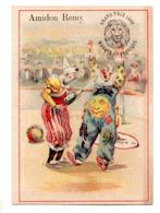 Chromo Amidon Remy Tête Lion Gaillon Eure Clown Cirque Costume Maquillage Bêtise Bouteille Champagne Fuite Boisson Balle - Chromos